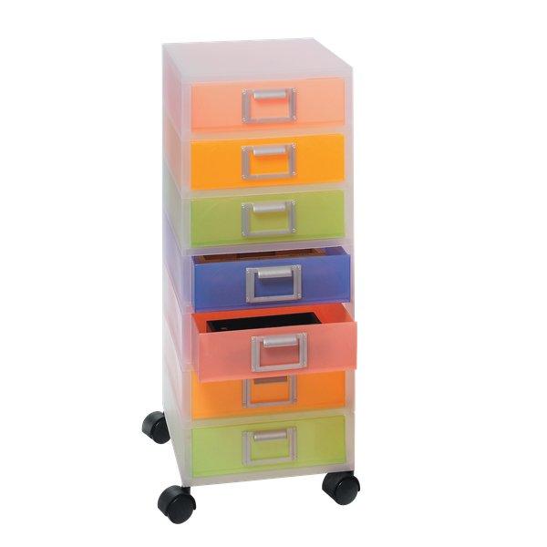 Cassettiere In Plastica Con Rotelle.Cassettiera Jolly Niji Con Ruote Multicolor Semitrasparente 7