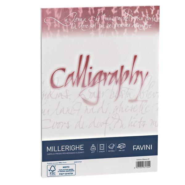Calligraphy Millerighe Rigato Favini - bianco - fogli - A4 - 100 g - A690224 (conf.50) - Favini