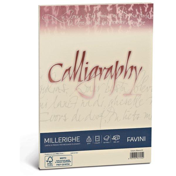 Calligraphy Millerighe Rigato Favini - avorio - fogli - A4 - 100 g - A69Q224 (conf.50) - Favini