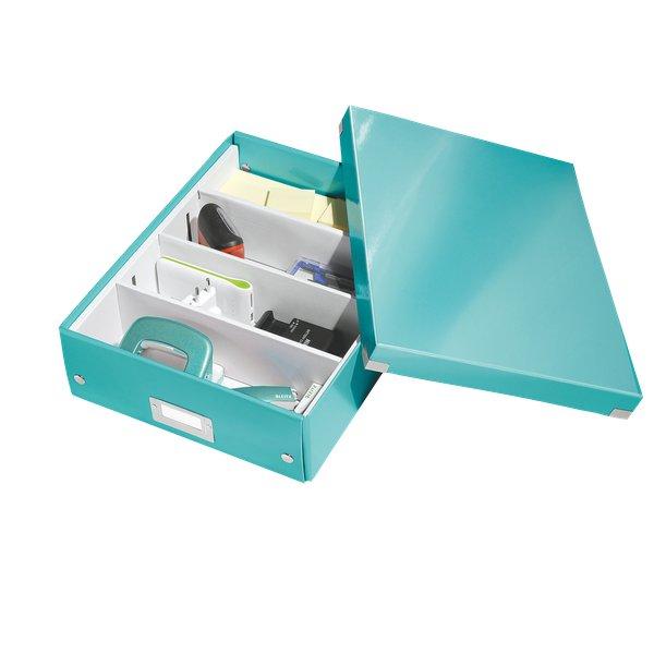 61080051 Click /& Store Leitz Scatola archivio Cubo L Acquamarina Cartone plastificato