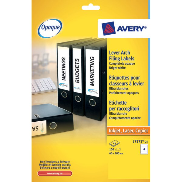 Etichette per raccoglitori avery - inkjet - 200x60 mm - 4 - j8171-25 (conf.25)