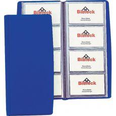 Portabiglietti da visita in PVC Favorit - 4 tasche 80 scomparti - 11x25,5 cm blu - 100460540 - Favorit