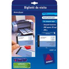Biglietti da visita Quick&Clean™Avery -Inkjet- fronte-retro -tela lino- 260 g/mq-C32096-10 (conf.80) - Avery