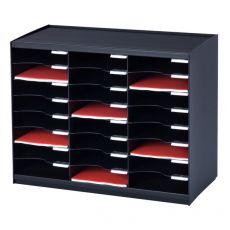 Sistema di smistamento corrispondenza Paperflow - 24 scomparti - nero - 67,4x30,8x54,8 cm - 802.01 - Paperflow