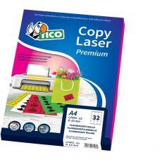 Etichette Copy Laser Prem.Tico fluo Las/Ink/Fot ang.arrot. 200x142mm verde - LP4FV-200142 (conf.70) - Tico
