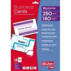 Biglietti visita Decadry -laser/inkjet-microperf.-angoli vivi-fronte/retro- 250g-OCB3260 (conf.180) - Decadry