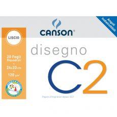 Album da disegno C2 Canson - Liscio riquadrato - 120 g/mq - 20 - 100500448 - Canson