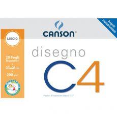 Album da disegno C4 Canson - Liscio riquadrato - 33x48 cm - 200 g/mq - 20 - 100500454 - Canson