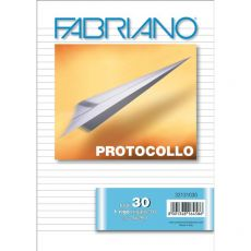 Fogli protocollo Fabriano - in blister - rigato a 31 - 60 g/mq - 32131030 (conf.30) - Fabriano