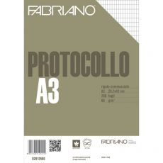 Fogli protocollo Fabriano - standard - rigato commerciale - 66 g/mq - 02910566 (conf.200) - Fabriano