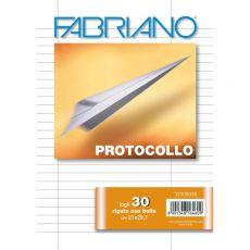 Fogli protocollo Fabriano - in blister - rigato uso bollo - 60 g/mq - 32300030 (conf.30) - Fabriano