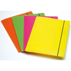 Cartella A 3 Lembi Fluo Con Elastico In Ppl Fellowes - Assortito - 1028001 (Conf.4) - Fellowes