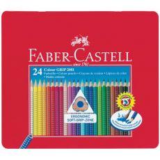 Matite Colorate Acquerellabili Colour Grip Faber Castell - Astuccio Metallo - 112423 (Conf.24) - Faber Castell