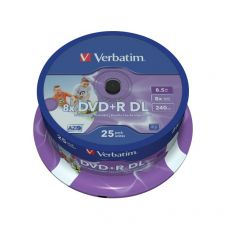 DVD Verbatim - DVD+R - 8,5 Gb - 8x - Printable - DL - Spindle - 43667 (conf.25) - Verbatim