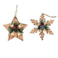 Fiocchi di neve e stella - colore legno - 06060420 (conf.24) -