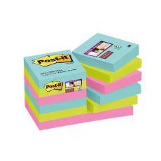 Foglietti Post-it® Super Sticky Miami  - assortiti a tema Miami - 47,6x47,6 mm - 622-12SS-MIA (conf.12) - Post-It