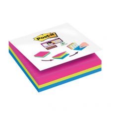Cubo foglietti Post-it® Super Sticky - 101x101 mm - fucsia, giallo, blu meditteraneo - 2014- 4470-XLES (conf.3) - Post-It