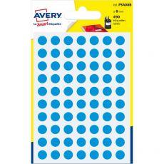 Etichette rotonde in bustina Avery - blu - diam. 8 mm - 70 - PSA08B (conf.6) - Avery