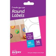 Etichette bianche removibili Avery - Ø40 - 6 - Rotonda - HRR01 (conf.6) - Avery