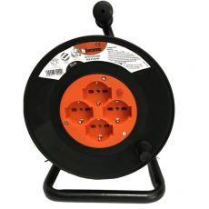 Avvolgicavo con cavo da 15m bticino con spina 2P+T 16A e 4 prese 10/16A arancio nero - S2515N - Bticino