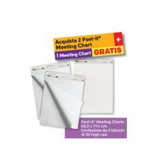 Value Pack Post-it® Meeting Chart - 2+1 Post-It - bianco - 77,5x63,5 cm - 559 value pack 2+1 (conf.2+1) - Post-It