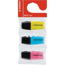 Evidenziatore Boss Mini Stabilo - giallo, azzurro, rosa - 2-5 mm - 07/3- 07/03-12 (conf.3) - Stabilo